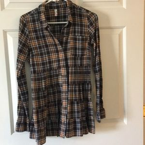 Free People tiered, button down plaid shirt